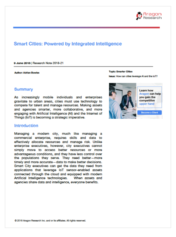 2018-21 Smart Cities: Powered by Integrated Intelligence, 2018