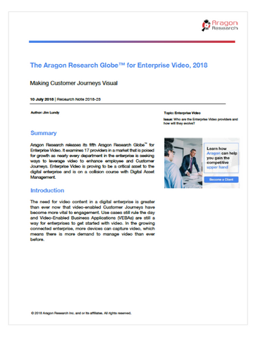2018-23 The Aragon Research Globe for Enterprise Video, 2018