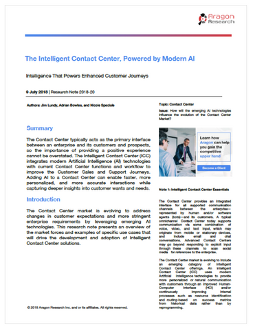2018-20 The Intelligent Contact Center, Powered by Modern AI, 2018