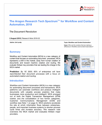 2018-32 The Aragon Research Tech Spectrum for Workflow and Content Automation, 2018