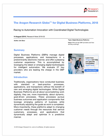 2018-33 The Aragon Research Globe for Digital Business Platforms, 2018