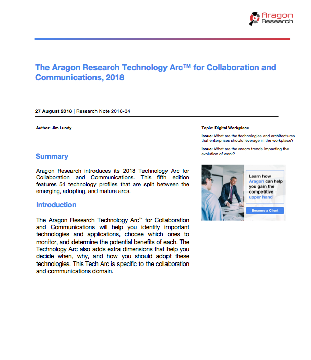 2018-34 The Aragon Research Technology Arc for Collaboration and Communications, 2018
