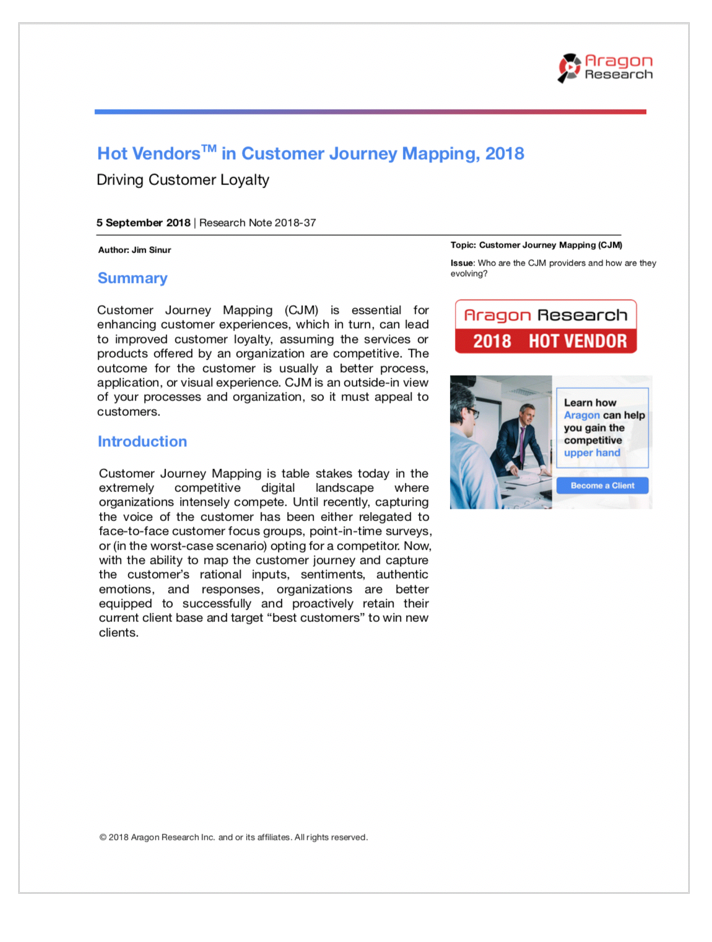 2018-37 Hot Vendors in Customer Journey Mapping, 2018