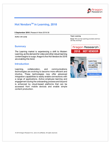 2018-36 Hot Vendors in Learning, 2018