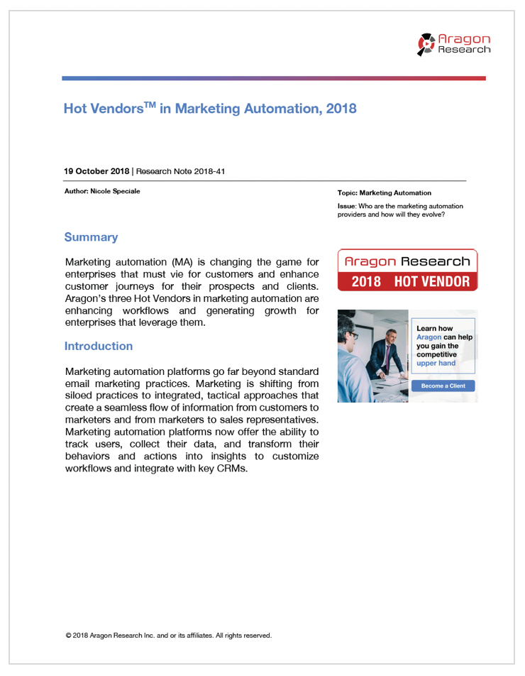 2018-41 Hot Vendors in Marketing Automation, 2018