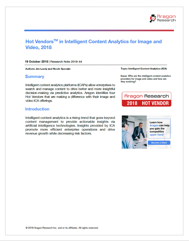 2018-44 Hot Vendors in Intelligent Content Analytics for Image and Video, 2018
