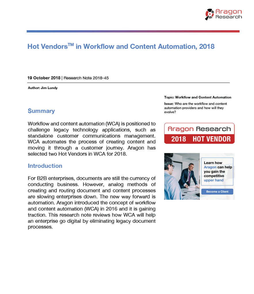 2018-45 Hot Vendors in Workflow and Content Automation, 2018