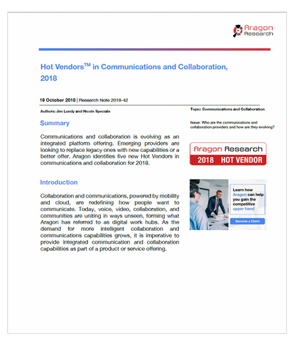 2018-42 Hot Vendors in Communications and Collaboration, 2018