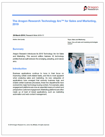 2019-11 The Aragon Research Technology Arc for Sales and Marketing, 2019