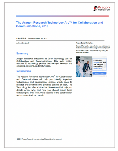 2019-12 The Aragon Research Technology Arc for Collaboration and Communications, 2019