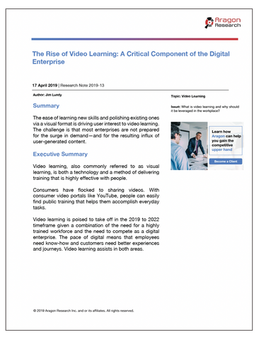 2019-13 The Rise of Video Learning-A Critical Component of the Digital Enterprise