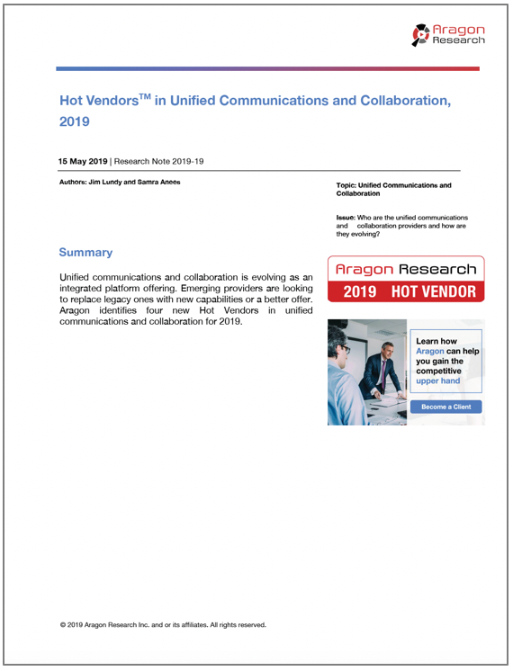 2019-19 Hot Vendors in Unified Communications and Collaboration, 2019