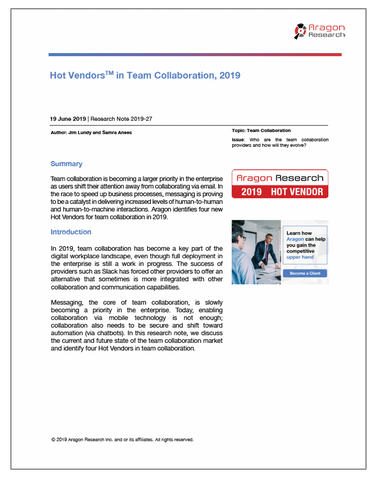 2019-27 Hot Vendors in Team Collaboration, 2019