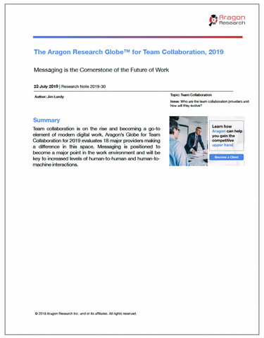 2019-30 The Aragon Research Globe™ for Team Collaboration, 2019