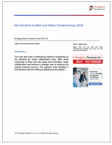 2019-40 Hot Vendors in Web and Video Conferencing, 2019
