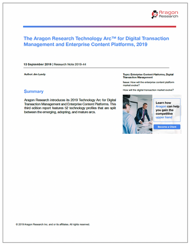 2019-44 The Aragon Research Technology Arc for DTM and ECP, 2019