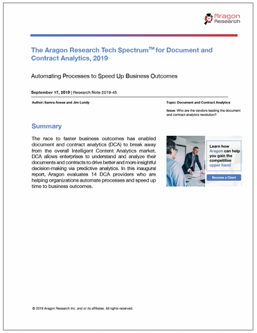 2019-45 The Aragon Research Tech Spectrum for Document and Contract Analytics, 2019