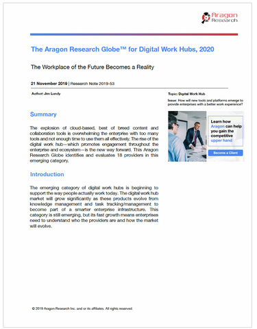 The Aragon Research Globe™ for Digital Work Hubs, 2020