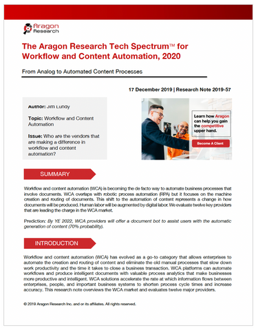 The Aragon Research Tech SpectrumTM for  Workflow and Content Automation, 2020
