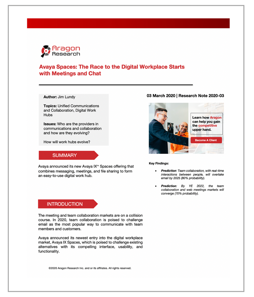 2020-03 Avaya Spaces: The Race to the Digital Workplace Starts with Meetings and Chat