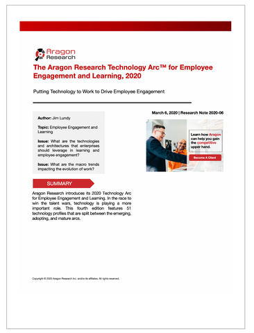 The Aragon Research Technology Arc™ for Employee Engagement and Learning, 2020
