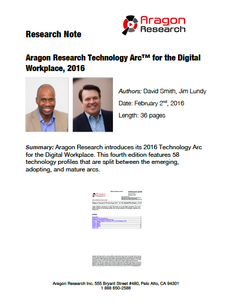 2016-2 Aragon Research Technology Arc™ for the Digital Workplace, 2016