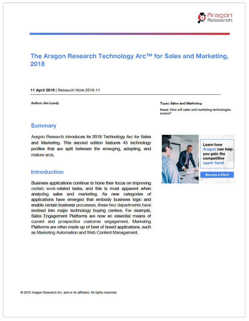 The Aragon Research Technology Arc™ for Sales and Marketing, 2018