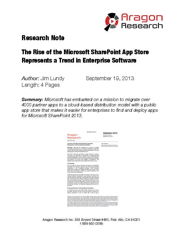 The Rise of the Microsoft SharePoint App Store Represents a Trend in Enterprise Software