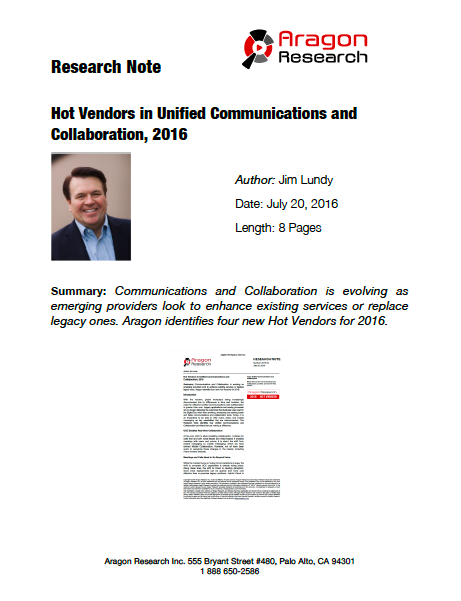 Hot Vendors in Unified Communications and Collaboration, 2016