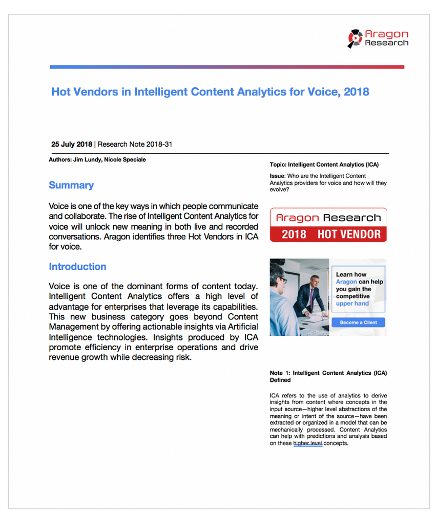 2018-31 Hot Vendors in Intelligent Content Analytics for Voice, 2018