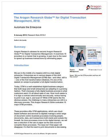 The Aragon Research Globe™ for Digital Transaction Management, 2018