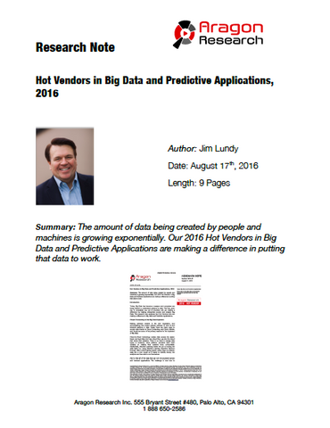 2016-31 Hot Vendors in Big Data and Predictive Applications, 2016