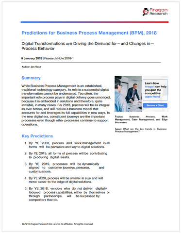Predictions for Business Process Management (BPM), 2018