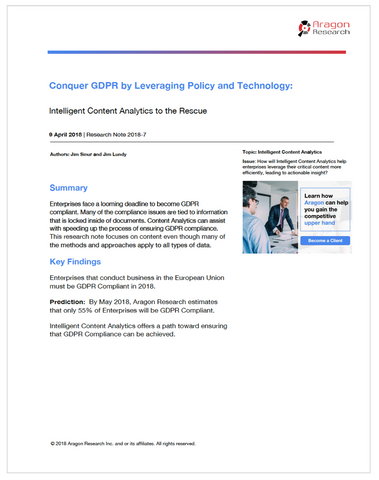 Conquer GDPR by Leveraging Policy and Technology: Intelligent Content Analytics to the Rescue