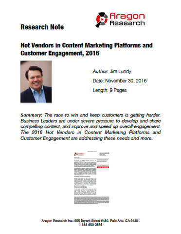 2016-43 Hot Vendors in Content Marketing Platforms and Customer Engagement, 2016