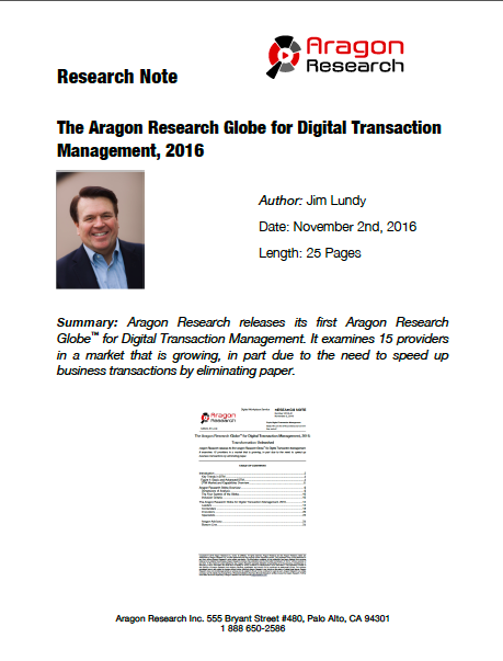 2016-41 The Aragon Research Globe for Digital Transaction Management, 2016