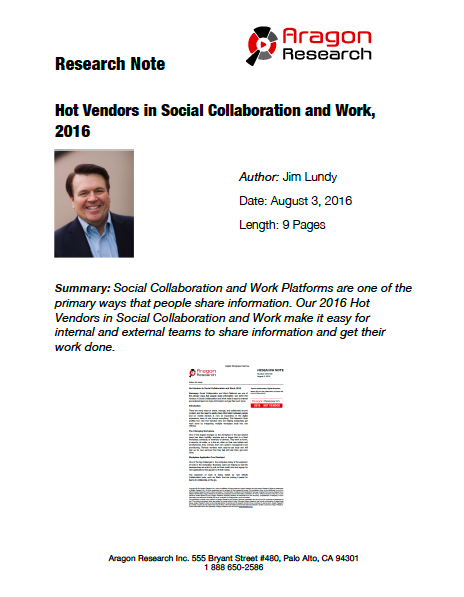 2016-26 Hot Vendors in Social Collaboration and Work, 2016