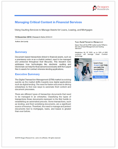 Managing Critical Content in Financial Services