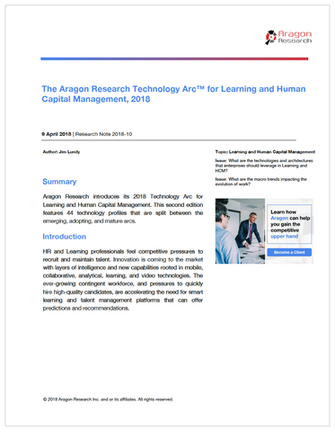 The Aragon Research Technology Arc™ for Learning and Human Capital Management, 2018