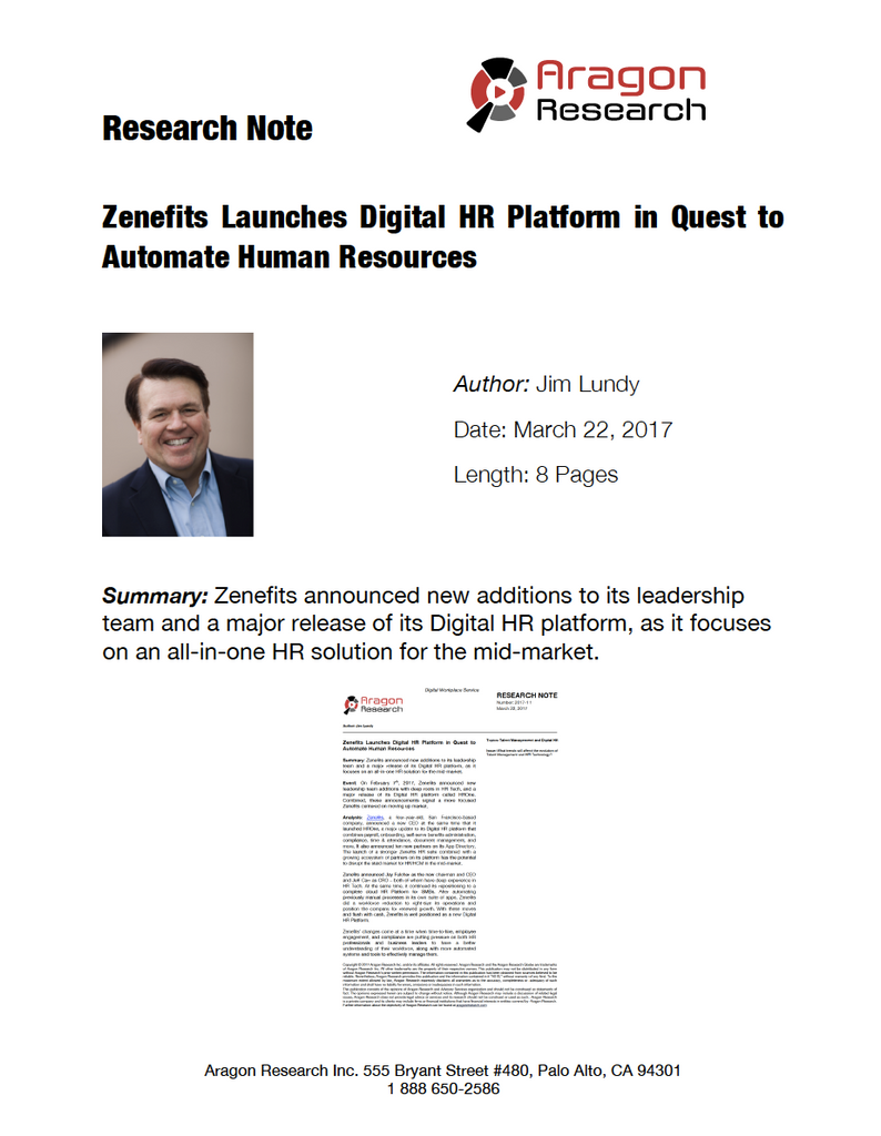 2017-11 Zenefits Launches Digital HR Platform in Quest to Automate Human Resources