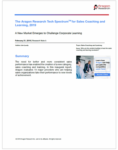 2019-5 The Aragon Research Tech Spectrum for Sales Coaching and Learning