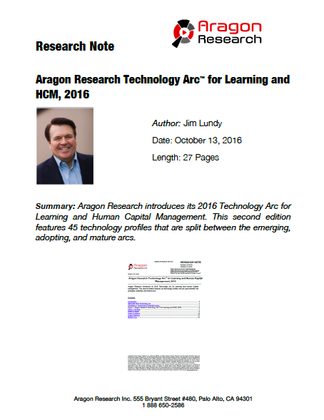 2016-38 Aragon Research Technology Arc for Learning and HCM, 2016