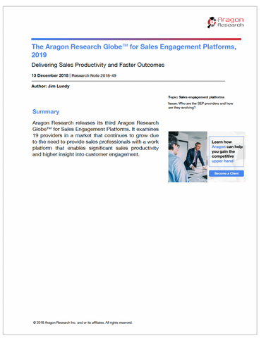 The Aragon Research Globe for Sales Engagement Platforms, 2019