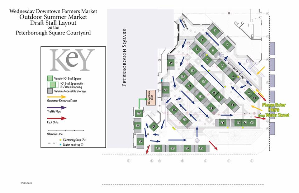 Peterborough Wednesday Downtown Farmers Market Map