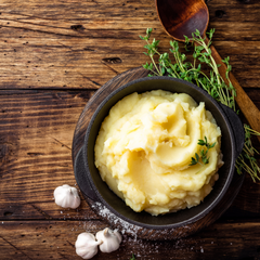 Creamy Homemade Mash Potatoes with Garlic Scape Butter (SERVES 2)