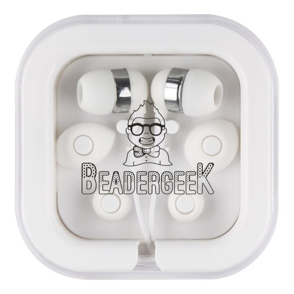 BeaderGeek Earbuds with Adjustable Cushions (White)