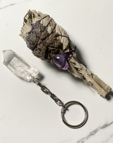 Smudging Bundle with Lavender & Clear Quartz keychain