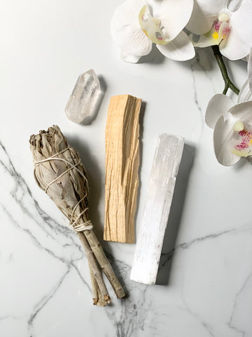 Smudging Bundle with Clear Quartz