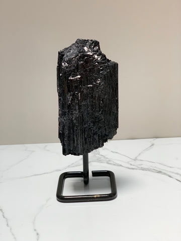 Black Tourmaline Specimen on metal base