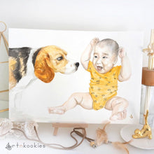 Load image into Gallery viewer, Custom Watercolour Family Portrait with Pet
